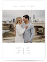 This is a white save the date by Angela Garrick called chique with standard printing on signature in grand.