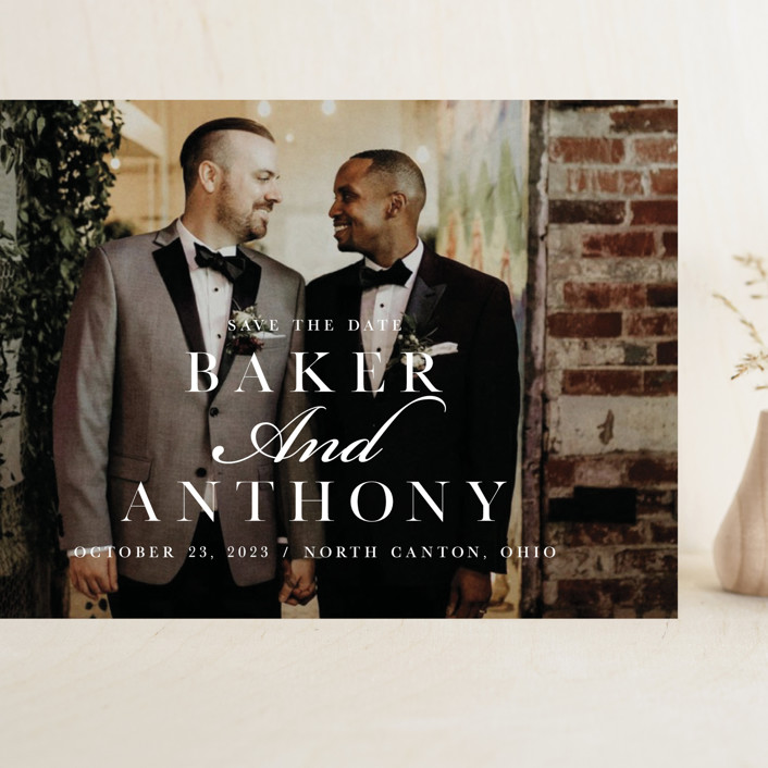 """""""Stacked Names"""" - Grand Save The Date Cards in Snow by Mayflower Press."""