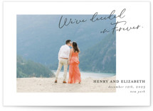 This is a black save the date by Paper Raven Co. called We've Decided with standard printing on signature in grand.