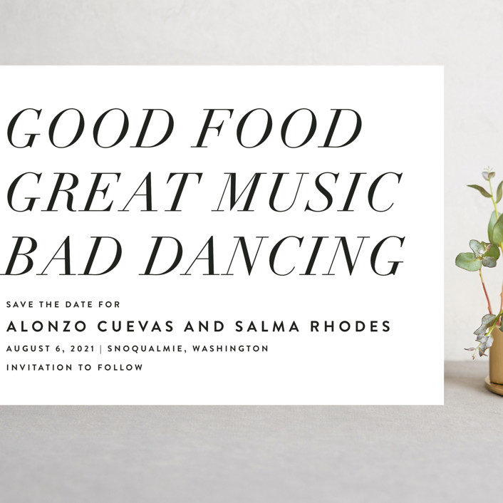 """""""Bad Dancing"""" - Grand Save The Date Cards in Dove by Amy Payne."""
