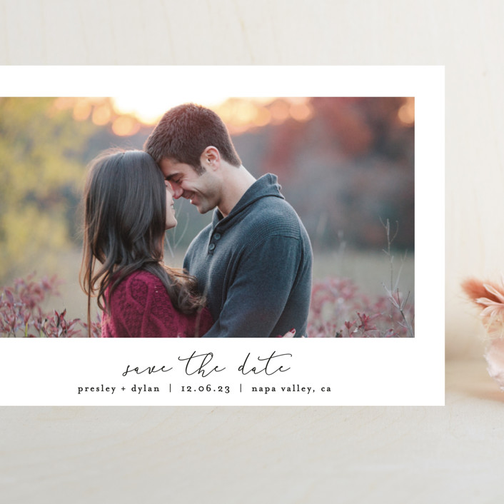"""Pure"" - Grand Save The Date Cards in Noir by Bethan."