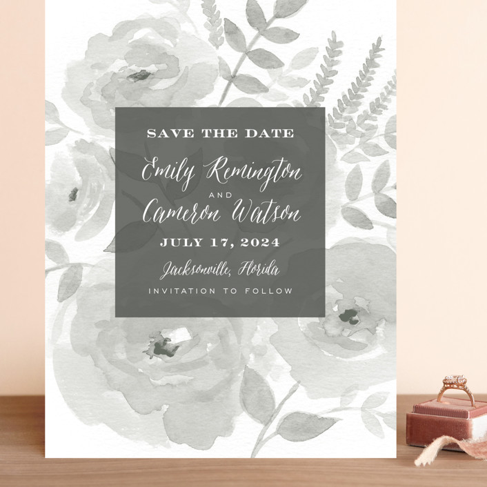 """""""Watercolor Floral"""" - Grand Save The Date Cards in Fog by Jill Means."""