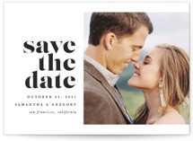 This is a white save the date by Brooke Chandler called All of Me with standard printing on smooth signature in grand.