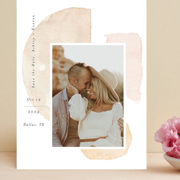 """Fika"" - Rustic Grand Save The Date Cards in Earth by Itsy Belle Studio."