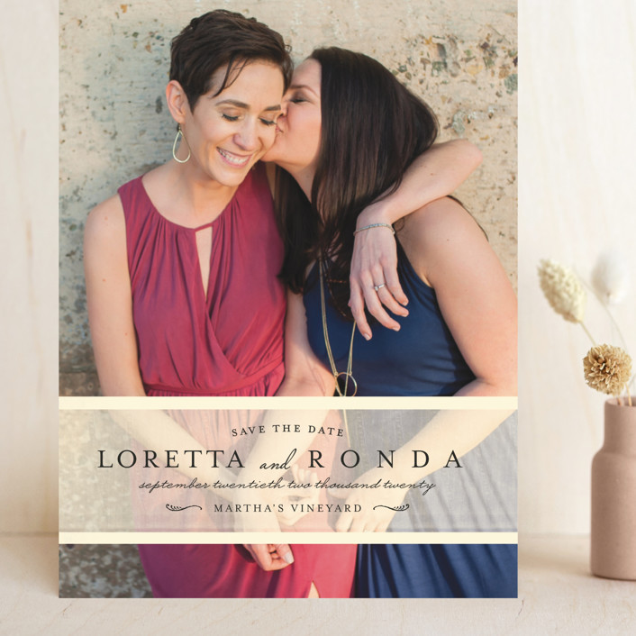 """""""Clean Linen"""" - Grand Save The Date Cards in Cream by Lori Wemple."""