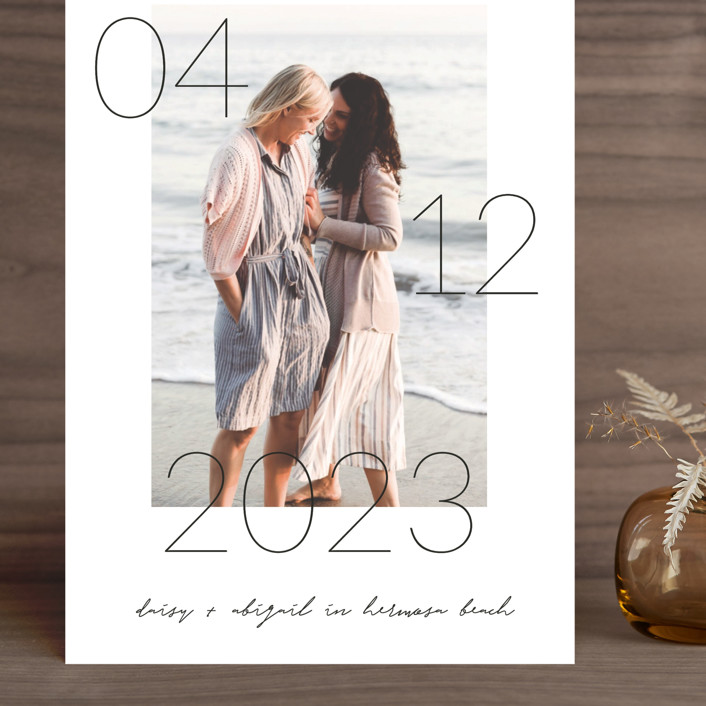 """""""Lucky Date"""" - Grand Save The Date Cards in Snow by Simona Camp."""