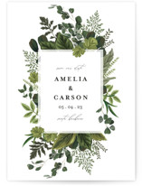 This is a green save the date by Susan Moyal called Natures Forest with standard printing on signature in grand.