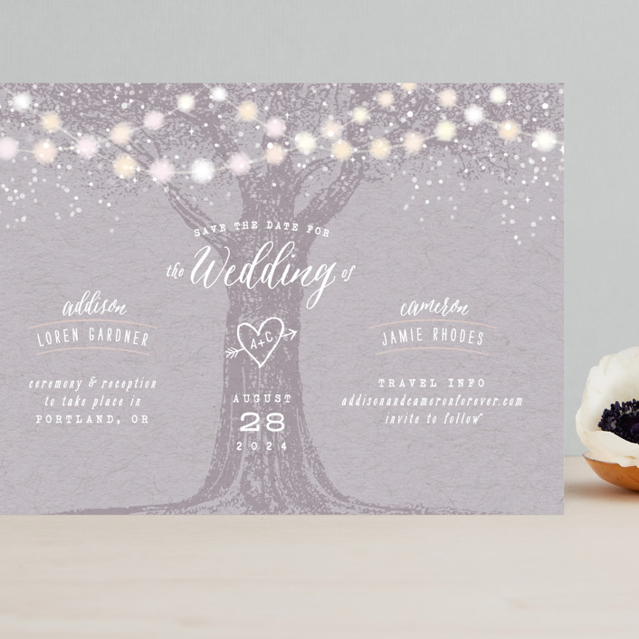 """Garden Lights"" - Rustic Grand Save The Date Cards in Lavender by Hooray Creative."