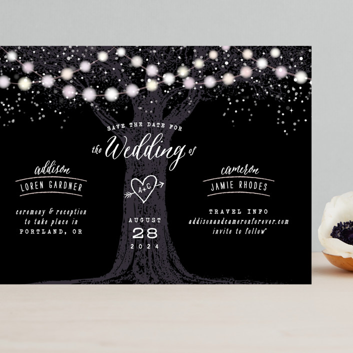 """Garden Lights"" - Rustic Grand Save The Date Cards in Midnight by Hooray Creative."
