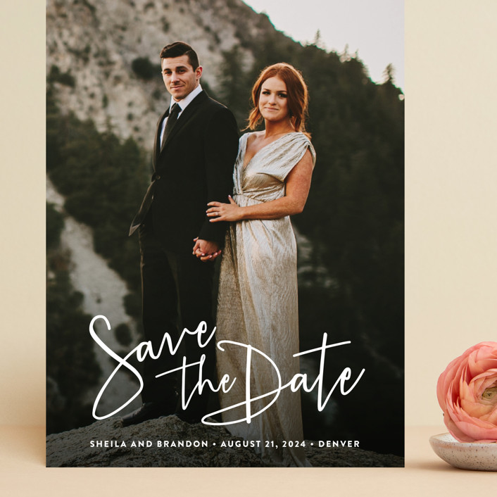 """""""Stylish Script"""" - Grand Save The Date Cards in Cloud by Hooray Creative."""