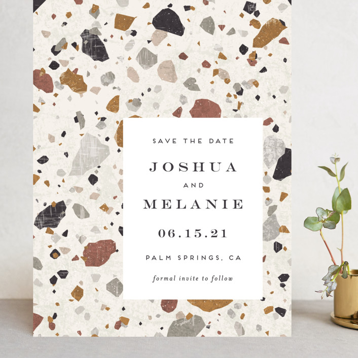 """Terrazzo"" - Modern Grand Save The Date Cards in stone by Amy Payne."