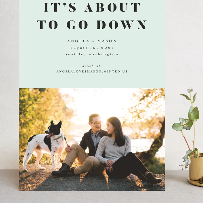 """About To Go Down"" - Grand Save The Date Cards in Mint by Stephanie Given."
