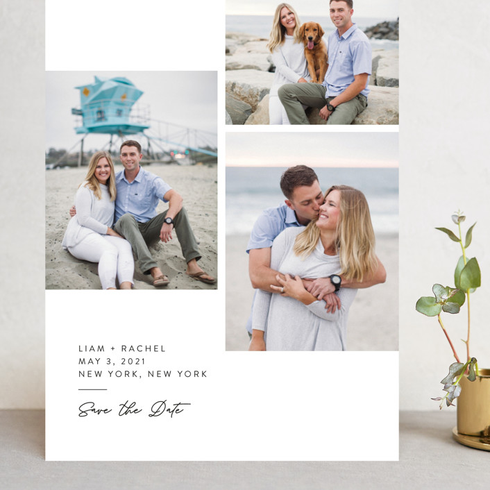 """""""Clean and Simple"""" - Grand Save The Date Cards in Alabaster by Amy Payne."""