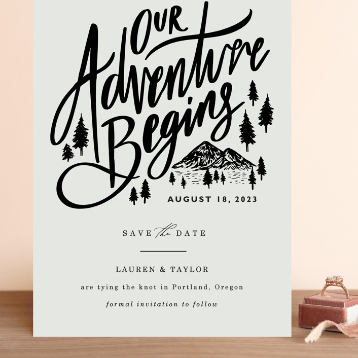 """""""Our Adventure"""" - Grand Save The Date Cards in Noir by Elly."""