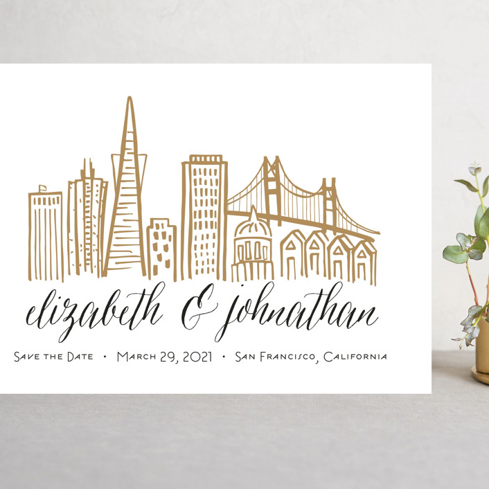 """""""Skyline - San Francisco"""" - Grand Save The Date Cards in Gold Coast by Abby Munn."""