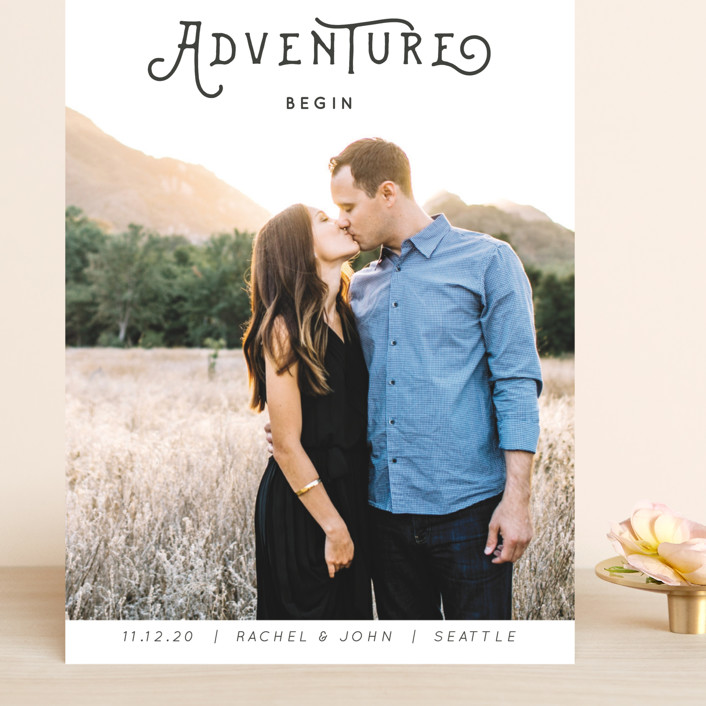 """""""The Adventure"""" - Whimsical & Funny, Bohemian Grand Save The Date Cards in Slate by Kasia Labocki."""