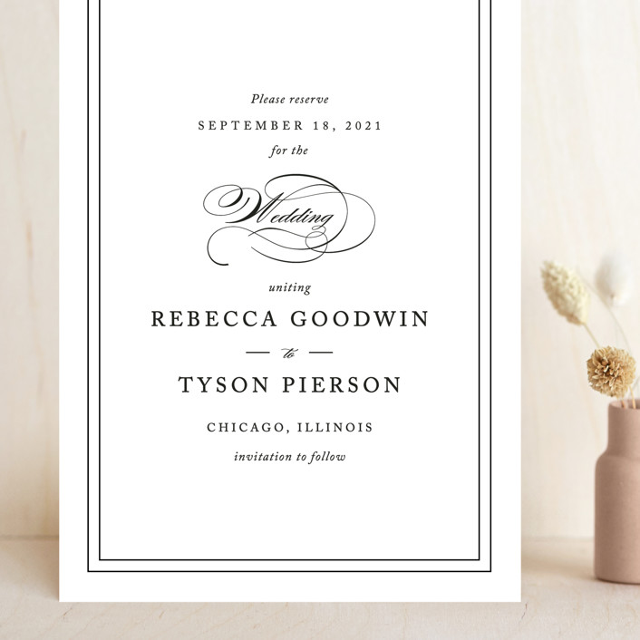 """""""Eloquence"""" - Grand Save The Date Cards in Vanilla by Kimberly FitzSimons."""