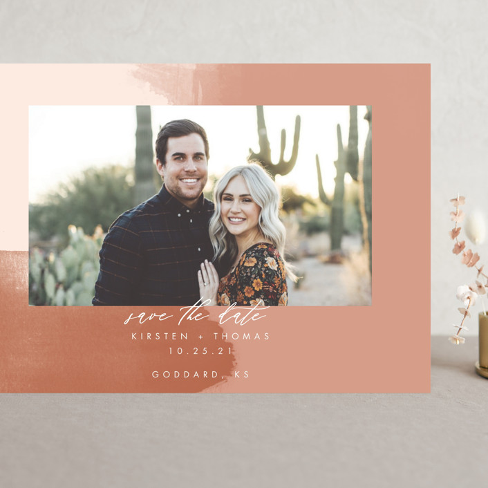 """""""Minimalist Abstract Sunset"""" - Grand Save The Date Cards in Terracotta by Stephanie Given."""
