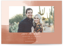 This is a pink save the date by Stephanie Given called Minimalist Abstract Sunset with standard printing on smooth signature in grand.