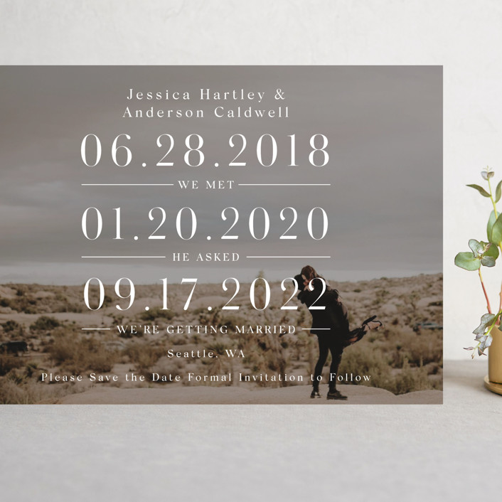 """Timing"" - Grand Save The Date Cards in Ivory by Mayflower Press."
