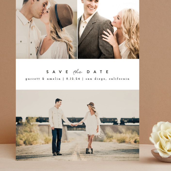 """""""Simple Date"""" - Grand Save The Date Cards in Frosting by peony papeterie."""