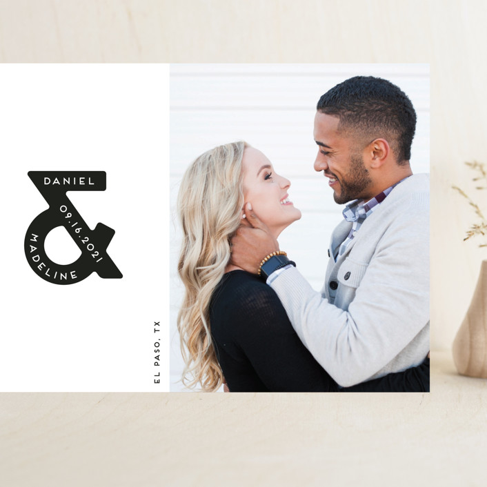 """Ampersand us"" - Grand Save The Date Cards in Fog by Gwen Bedat."