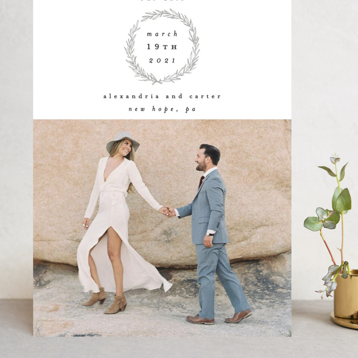 """""""Elegant Emblem"""" - Grand Save The Date Cards in Dove by Everett Paper Goods."""