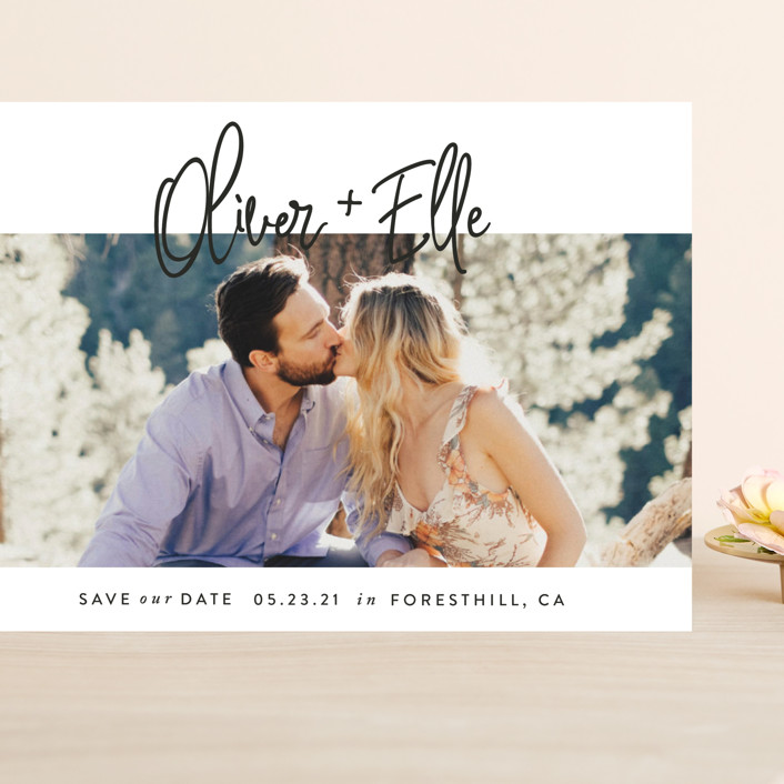"""""""Whimsical Script"""" - Grand Save The Date Cards in Onyx by Christie Garcia."""