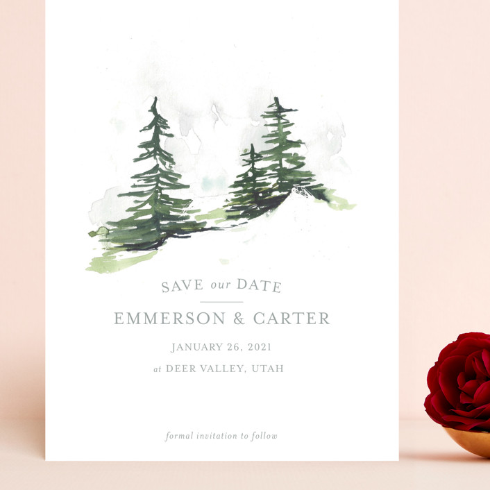 """On the Slopes"" - Rustic Grand Save The Date Cards in Fog by Mere Paper."