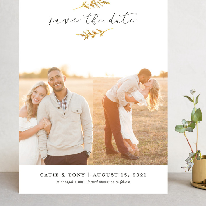 """""""Wheat Field"""" - Grand Save The Date Cards in Golden Field by Robin Ott."""