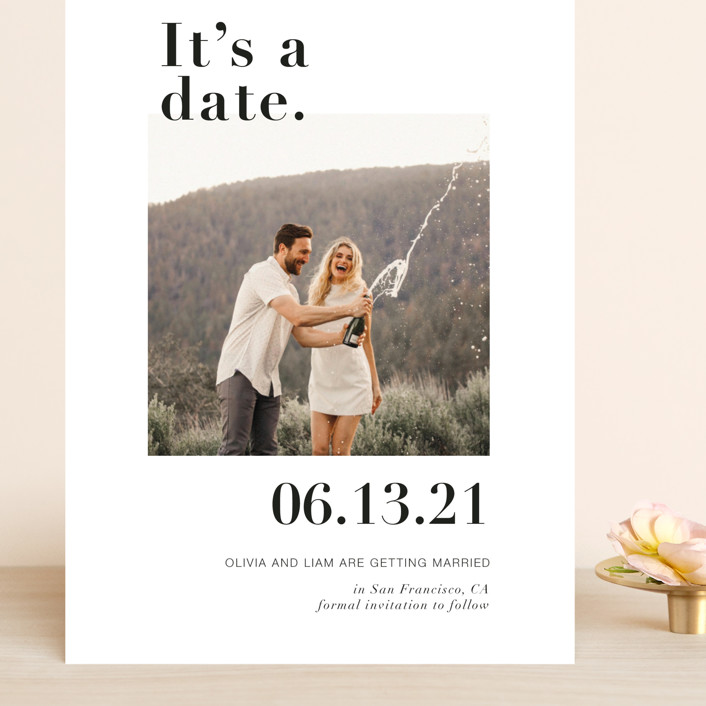 """It's a Date!"" - Modern Grand Save The Date Cards in Onyx by Joyce Pinheiro."