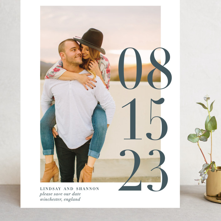 """""""Big Date"""" - Grand Save The Date Cards in Slate by Bethany Anderson."""