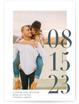 This is a blue save the date by Bethany Anderson called Big Date with standard printing on smooth signature in grand.