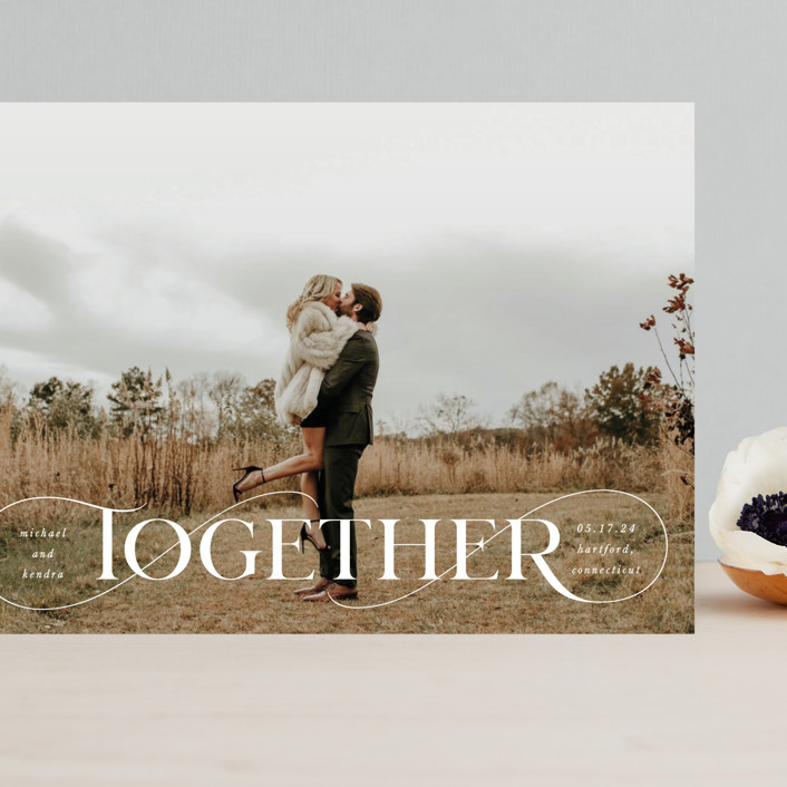 """""""Together Forever"""" - Grand Save The Date Cards in Cream by Kristel Torralba."""