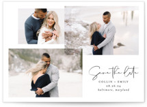 This is a black and white save the date by Erin Deegan called amour fois trois with standard printing on smooth signature in grand.