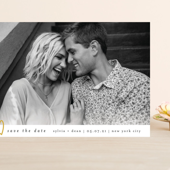 """""""Oh My Heart"""" - Grand Save The Date Cards in Goldenrod by Bethan."""