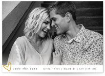 This is a gold save the date by Bethan called Oh My Heart with standard printing on smooth signature in grand.
