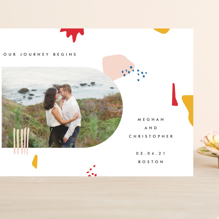 """Emilie"" - Modern Grand Save The Date Cards in Blush by Karen Schipper."