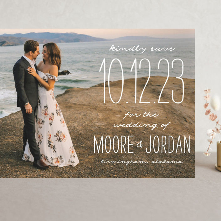 """""""Earthy"""" - Bohemian Grand Save The Date Cards in Pearl by Owl and Toad."""