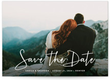 This is a white save the date by Hooray Creative called Stylish Script with standard printing on signature in grand.