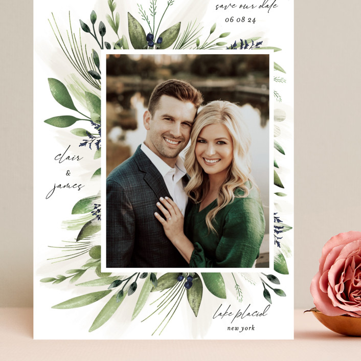 """""""Nature Love"""" - Grand Save The Date Cards in Navy by Susan Moyal."""