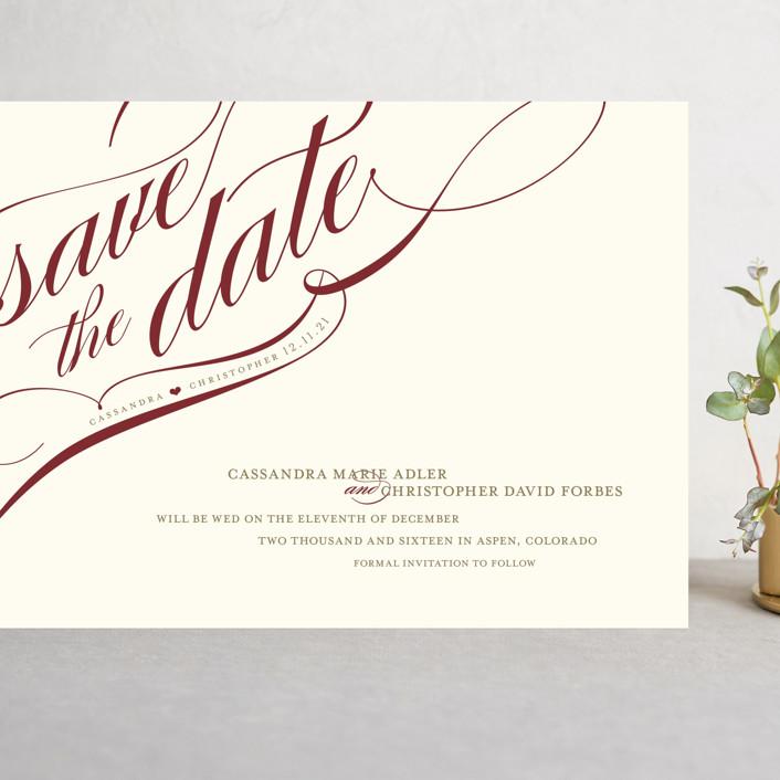 """Winter Flourish"" - Grand Save The Date Cards in Crimson by annie clark."