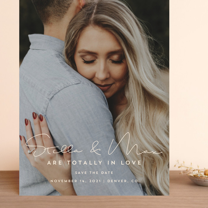 """""""totally in love"""" - Grand Save The Date Cards in Cotton by Guess What Design Studio."""
