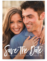 This is a white save the date by Kelly Schmidt called brushed lettering with standard printing on smooth signature in grand.