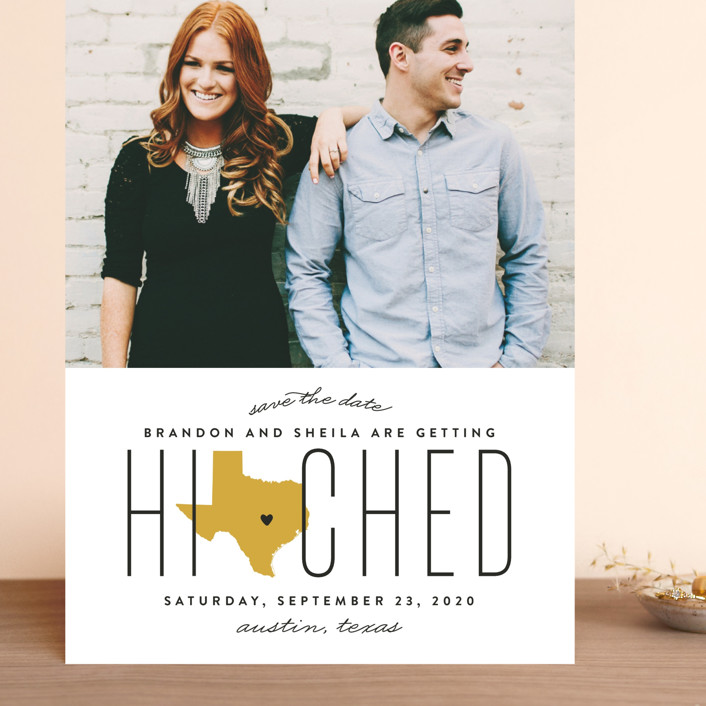 """Hitched in Texas"" - Grand Save The Date Cards in Golden by Erica Krystek."