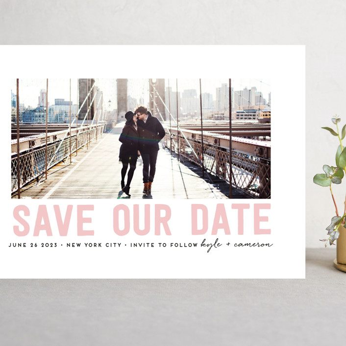 """Bold Message"" - Modern Grand Save The Date Cards in Basic Black by Susan Brown."