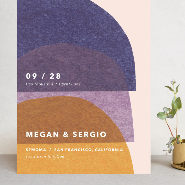 """""""cut-paper bells"""" - Modern Grand Save The Date Cards in Sunrise by Carrie Moradi."""