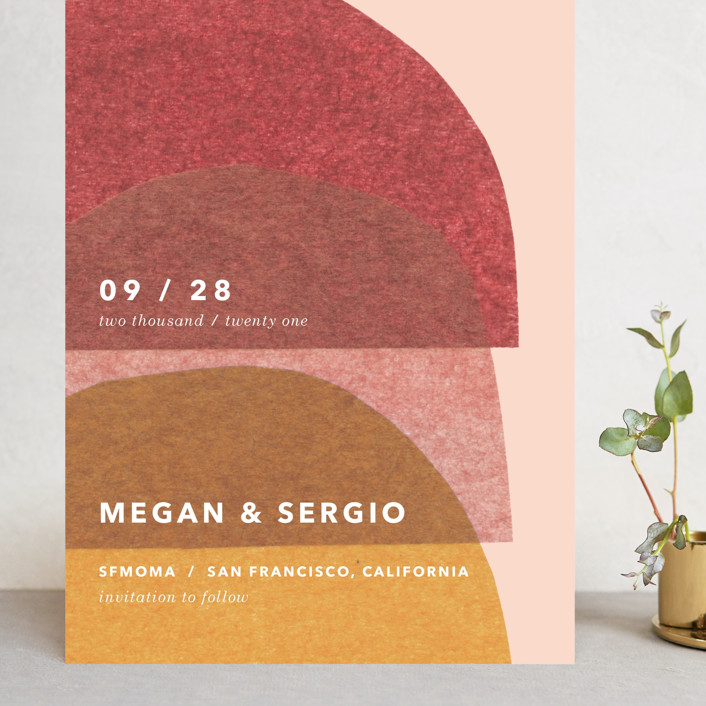 """cut-paper bells"" - Modern Grand Save The Date Cards in Sunrise by Carrie Moradi."