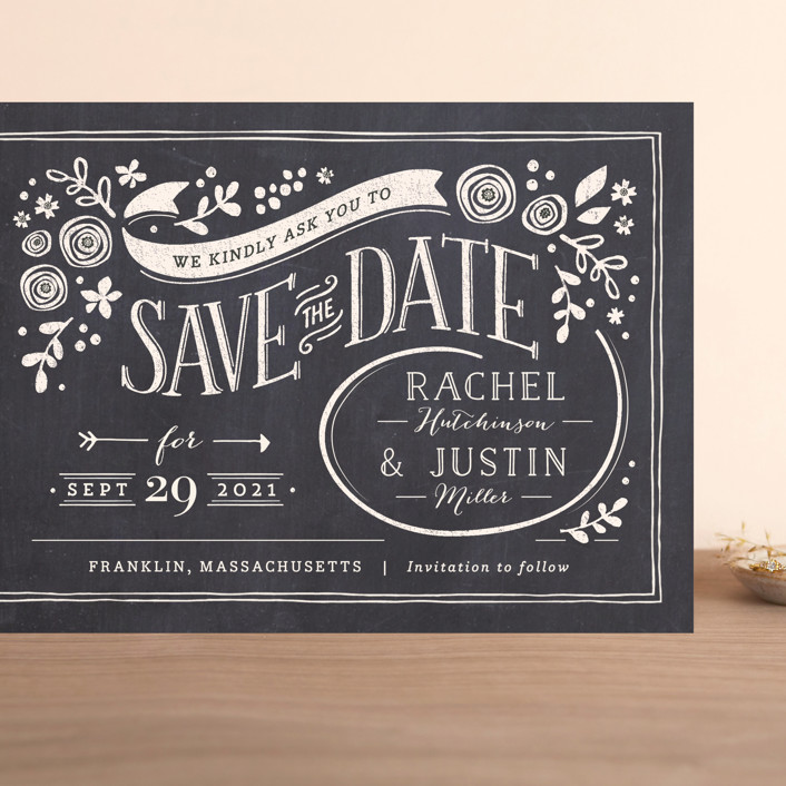 """""""Alabaster Florals"""" - Rustic Grand Save The Date Cards in Slate by Jennifer Wick."""