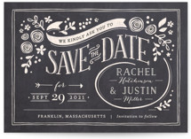 This is a grey save the date by Jennifer Wick called Alabaster Florals with standard printing on signature in grand.